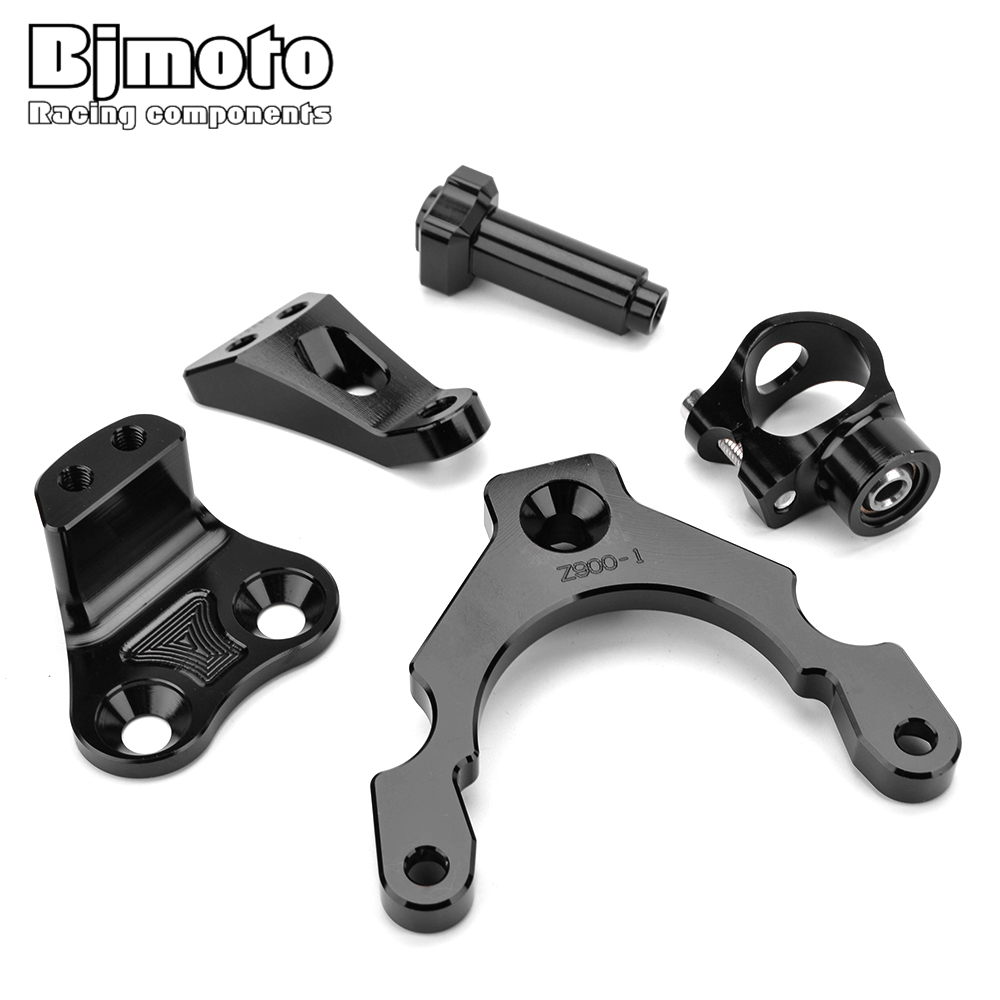 BJMOTO For Kawasaki Z900 2017-2018 CNC Aluminum Adjustable Steering Stabilize Damper Bracket Mount Kit adjustable steering damper