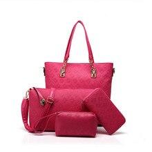 4 PCS/Set Women Handbag Pure Color Composite Bag Women Messenger Bags Shoulder bag Purse Wallet PU Leather Handbags