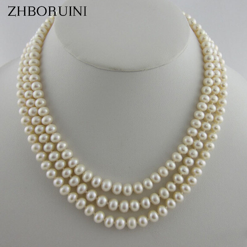 ZHBORUINI 2017 Pearl Necklace 925 Sterling Silver Jewelry For Women Multi Row Necklace Natural Freshwater Pearl Choker Necklace 2 3mm red natural agate necklace multi layers 925 sterling silver with real pearl fine womne jewelry wedding party necklace
