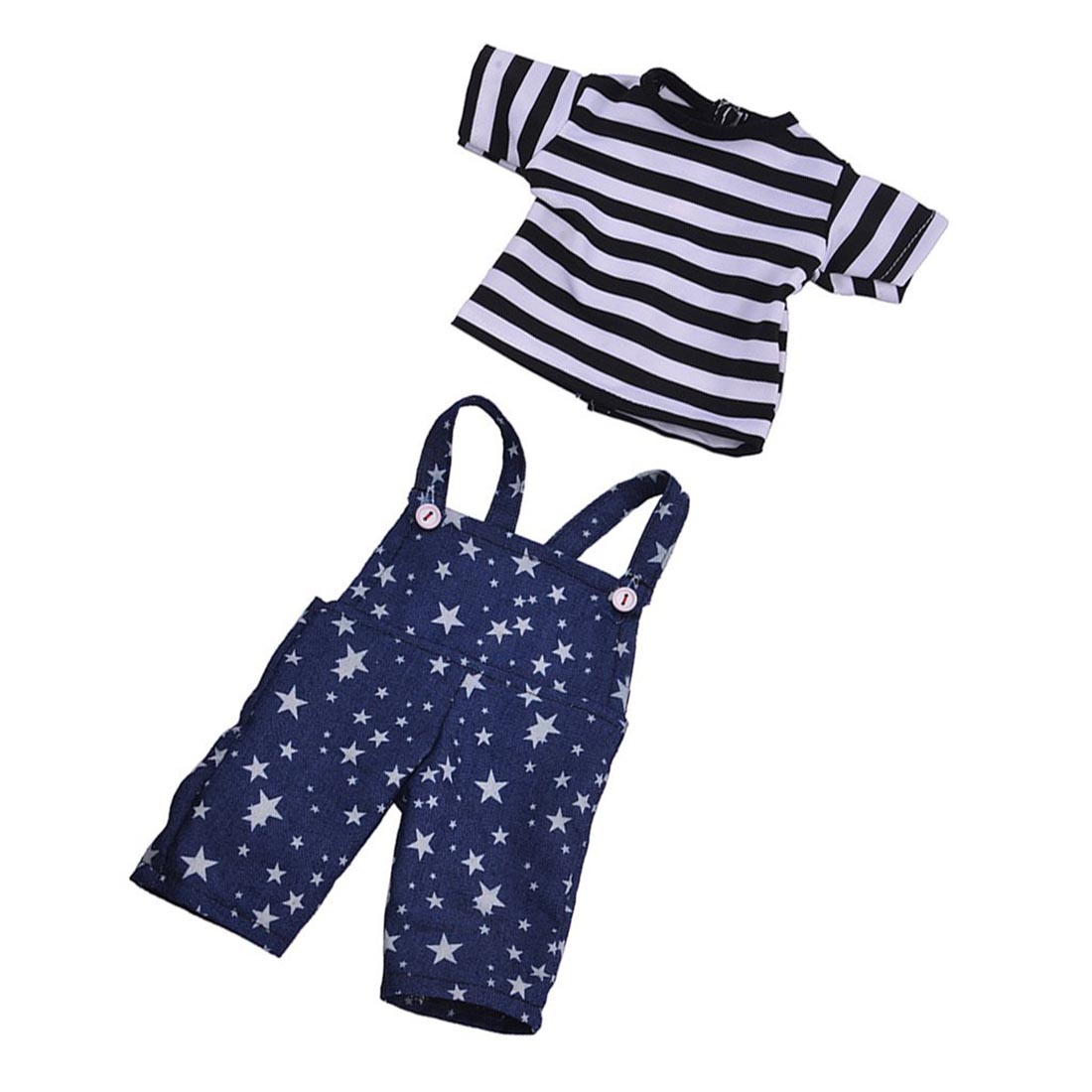 Blue Stary Pants Jumpsuits and Striped T-shirt for 18 inch American Girl Dolls