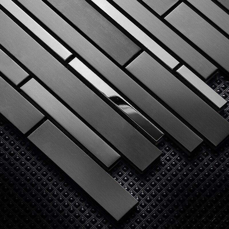 Interlocking Glossy Matt Black Stainless Steel Metal Strip Mosaic Tile for Kitchen Firewall shower wall decoration