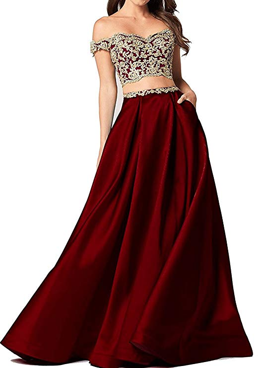 2019 Women's Two Pieces   Prom     Dresses   Long Satin Evening   Dresses   With Pockets Off The Shoulder Vestidos De Gala