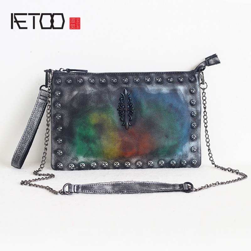 AETOO orgainal retro hand-colored multi-functional first layer of leather shoulder bag ladies hand bag vintage rivet chain bags aetoo new men bag shoulder bag male korean version of the first layer of leather students backpack retro men multi functional me