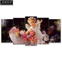 Zhui Star 5d Diy Diamond Embroidery Angel Garden 5pcs Multi Picture Combination Diamond Painting Cross Stitch