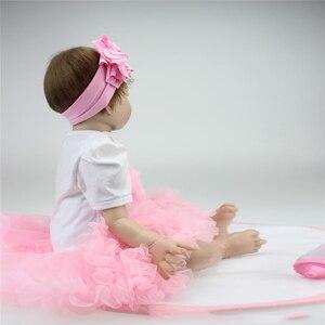 Image 4 - 55cm Reborn bebek bebekler vinil silikon gerçekçi canlı yumuşak bebekler Toddler yenidoğan oyuncak çocuklar erkek kız doğum günü noel hediyesi