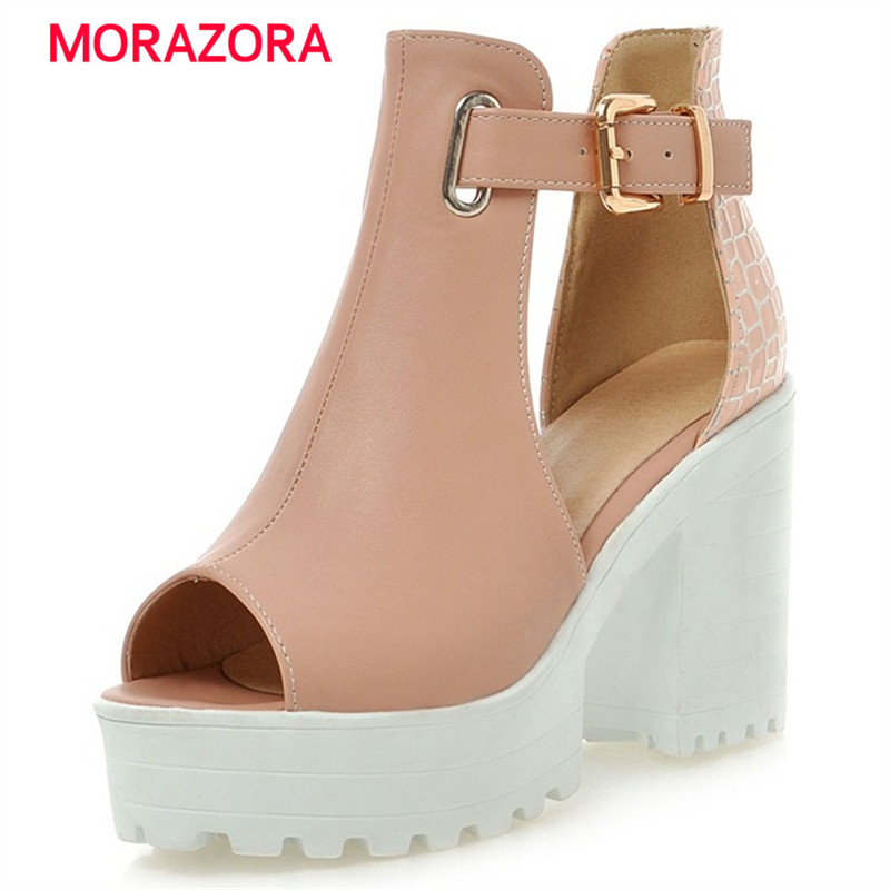 MORAZORA Peep toe platform shoes woman buckle solid big size 34-46 summer shoes party women sandals high heel 9.5cm morazora 2018 new women sandals summer sweet bowknot comfortable buckle spike high heels platform shoes peep toe shoes woman