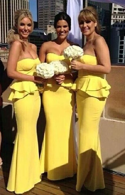 Yellow 2019 Cheap   Bridesmaid     Dresses   Under 50 Mermaid Sweetheart Long Wedding Party   Dresses   For Women