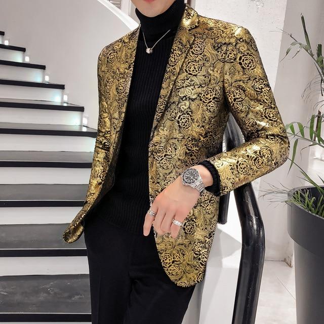 ¡Novedad de 2019! Blazer de lujo con estampado dorado para hombre, chaqueta para hombre, chaqueta ajustada para hombre de talla grande
