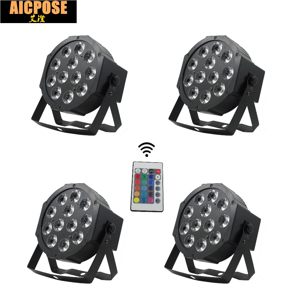 4units 12*12w Lamp With Remote 12x12W Led Par Lights RGBW 4in1 Flat Par Led Dmx512 Disco Lights Professional Stage Dj Equipment