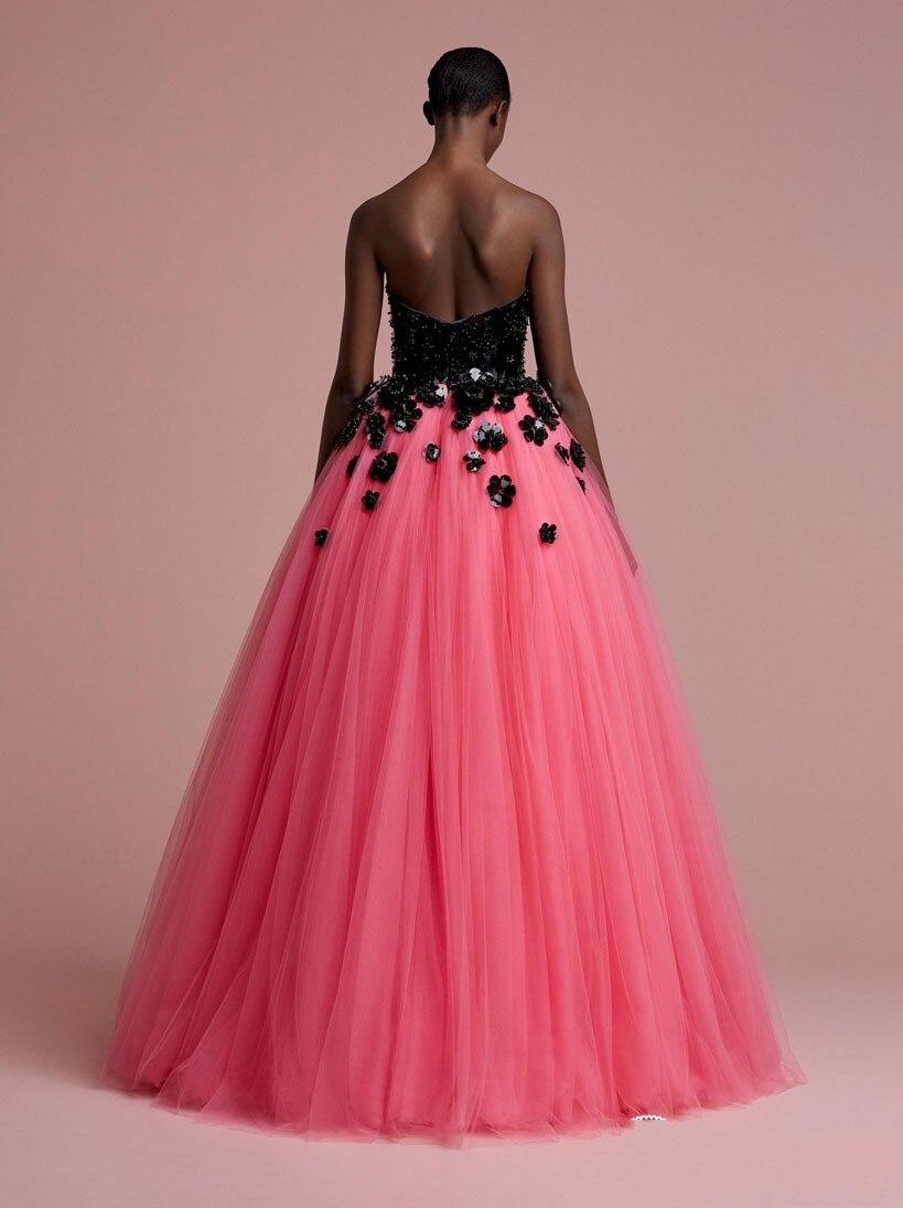 Robes Fleur Avec Longue Couleur Bal Parti Mode Perlée Robe Formelle Noir Tulle Pastèque Rose Formatura De Africaine 4qnX8