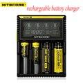 Original Nitecore D4 Digicharger display LCD com Circuito Inteligente li-ion 18650 14500 16340 26650 Carregador de Bateria Universal