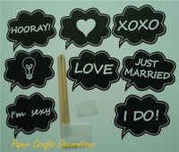 8 Pieces Set Wedding Chalkboard Photo Booth Props Same Pearl Shape Blackboard Decorations Free Shipping