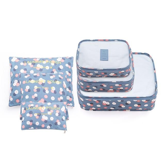 New Simple Flower Print Storage Bag For Luggage Waterproof 6pcs/set Closet Organizer Man Women Big Capacity Tidy Travel Pouch