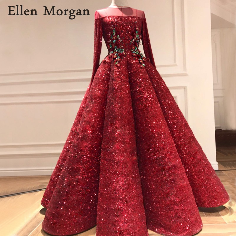 Long Sleeves Ball Gowns Evening Dresses 2018 Sale Robe De Soiree ...