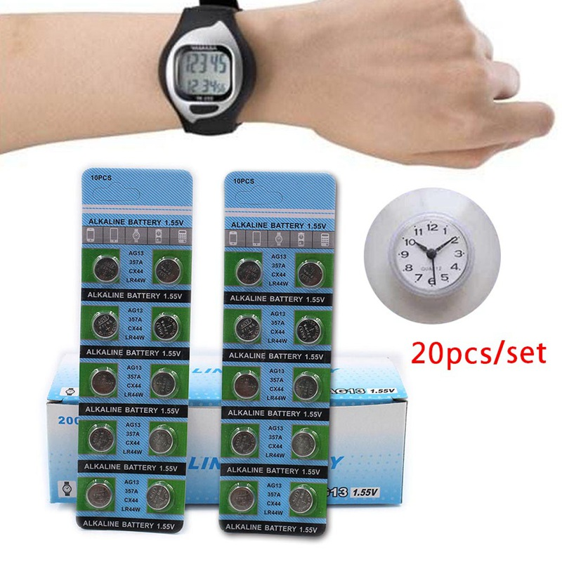 10pcs/card AG13 LR44 LR1154 SR44 A76 357A 303 357 LR44W Battery Coin Cell 1.55V Alkaline For Watches Toys Drop Shipping