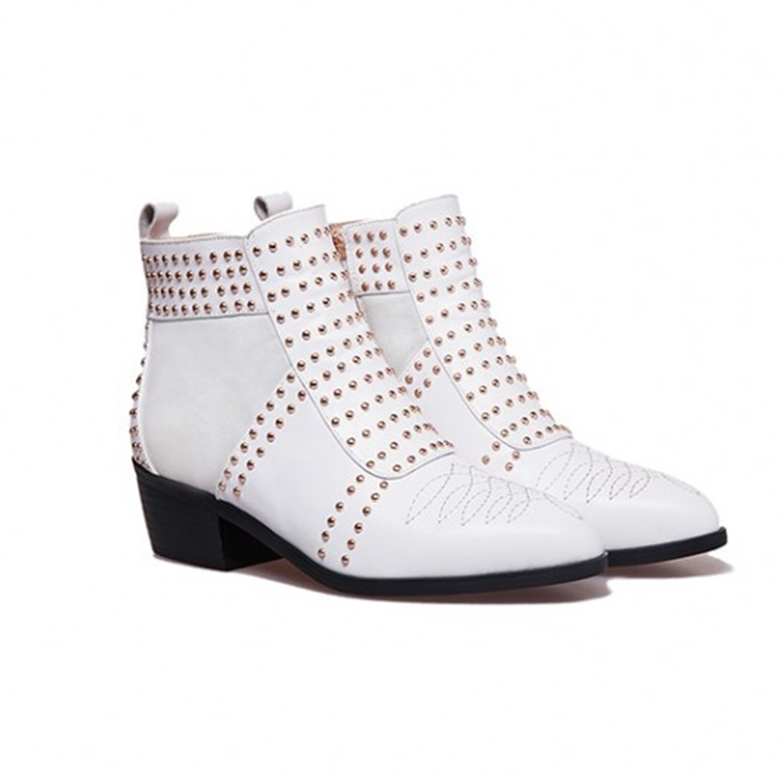 Winter White Flat High Top Ladies Gothic Boots  Rivet Punk Synthetic Leather Fashion Riding Studded Ankle Shoes