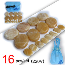 New type! 16pcs/set Hot stone body massager Gong Gade Salon SPA with heater bag 220V