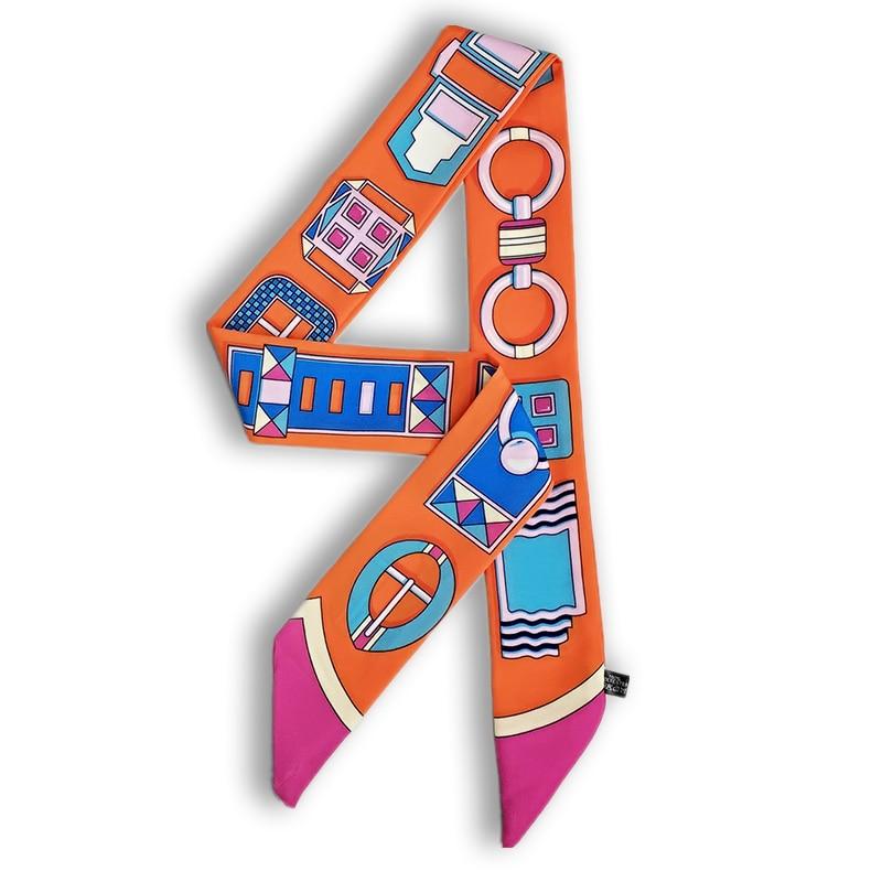 New Tie Bags Ribbon Silk Scarf Ties  Bandage Bags Handle Scarves, Nice Women Small Skinny Scarves