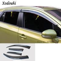 Para suzuki s-cross scrus sx4 2014 2015 2016 2017 capa de carro plástico janela vidro vento viseira chuva/guarda sol ventilação quadro lâmpada 4 pçs