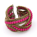 Hot Sale Fashion Jewelry Multicolor Bohemian Beads Beaded Twisted Charms Hand Made Open Bracelet Bangle Wholesale