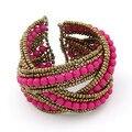 Multicolor Bohemian Beads encantos trançado artesanal abrir pulseira