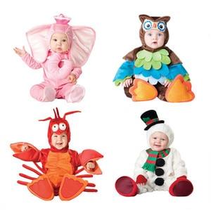 Image 1 - Odzież dziecięca polarowy kombinezon damski dla niemowląt chłopcy dziewczęta jednoczęściowe kombinezony robocze zimowe 2019 zwierząt Cosplay kształty Halloween kostium na boże narodzenie