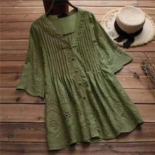 Fashion 2019 Summer Women Plus Size Cotton Linen Blouse Elegant Hollow Embroidery Bluse V Neck Button Tunic Pleated Shirts bluse unq bluse page 2