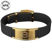Noproblem poder de acero inoxidable encanto de la moda de goma pulseras de oro 035G turmalina Energía magnética Poder Holograma pulsera
