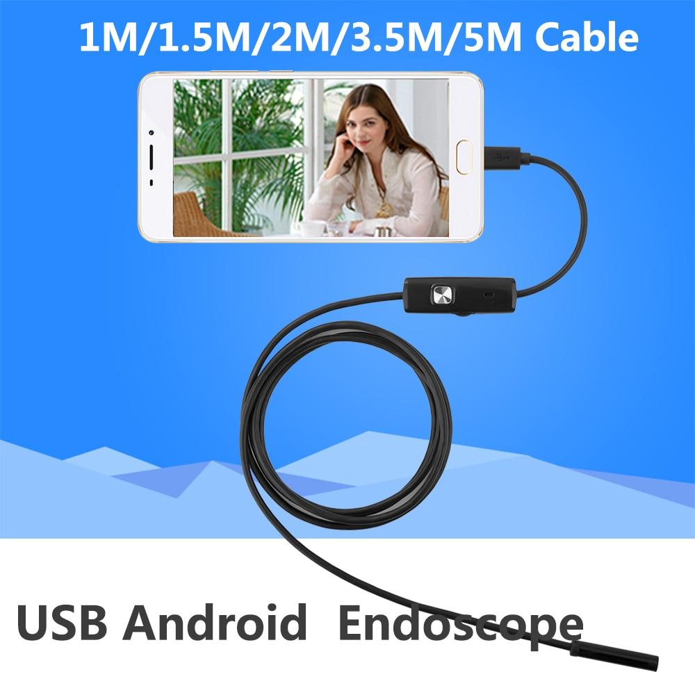 1 M/2 M/5 M 5.5mm endoscopio cámara USB endoscopio Android impermeable 6 LED borescope inspección para Android PC