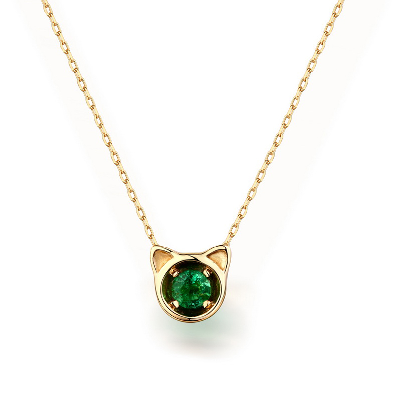 JXXGS New Designs 14k Gold Cute Cat Pendants Natural Emerald Fashion Pendants With Chain Necklace