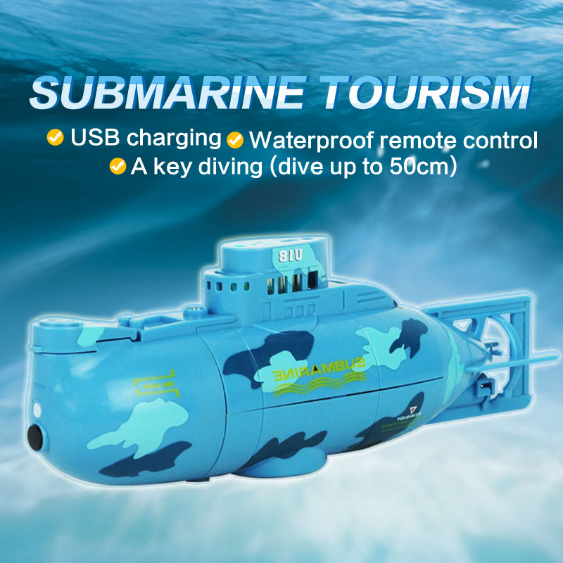 Mini Submarine Model 6CH Speedboat Model High Powered Boat Outdor Toy Plastic Remote Control RC Submarine