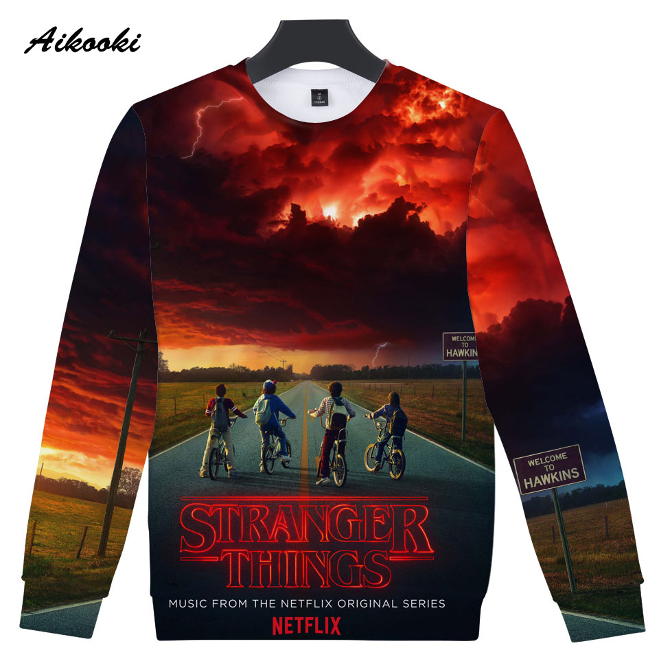 Aikooki 2018 New 3d Stranger Things Sweatshirt Hoodies Men
