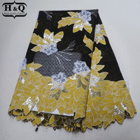 Yellow And Black African Organza Lace Fabric With Sequins 3D Applique Lace African Embroidery Lace Fabric 5 Yards For Sewing