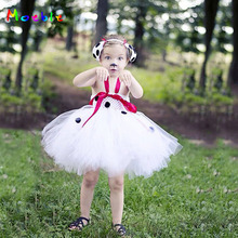 Puppy Dog Inspired Girls Tutu Dress White Dot Baby Kids Dresses for Girl Halloween Cosplay Costume Birthday Party Dress Vestidos posh dream mickey cartoon kids girl dress for cosplay pink and hot pink dot minnie girl tutu dresses flower girl cosplay dress