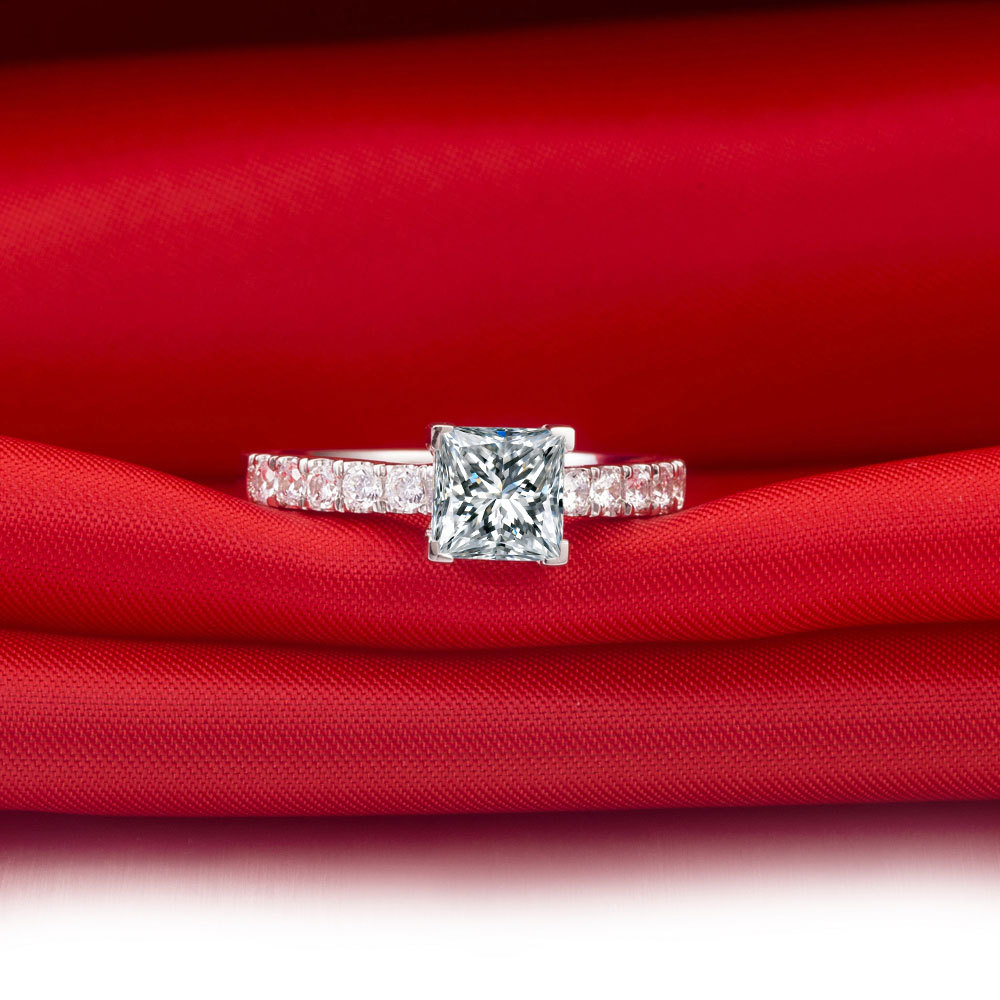 1carat Princess Cut Charles Colvard Moissanite Engagement Ring Solid 14k White Gold Women Wedding In Rings From Jewelry Accessories On