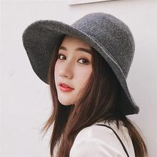 SUOGRY Panama Bucket Hat High Quality Women Wool Warm Autumn Winter Knitted Hats for Ladies Solid Plain Wide Brim