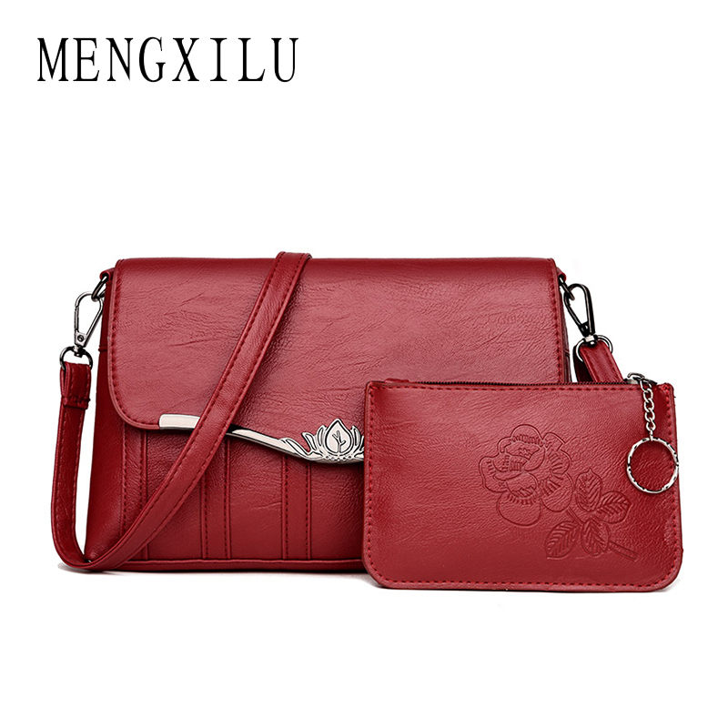 MENGXILU 2018 2 Set Baguette Crossbody Bags For Women Messenger Bags Women Shoulder Bag High Quality PU Leather Bolsas Feminin