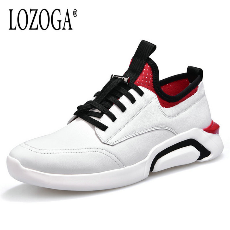 Lozoga 2018 Mens Leather Shoes Genuine Leather Luxury Shoes Lace Up Fashion Brand Casual Shoes White Men Sneakers Leisure Shoe high quality copier opc drum compatible for sharp mx m850 850 950 1100 aeg drums