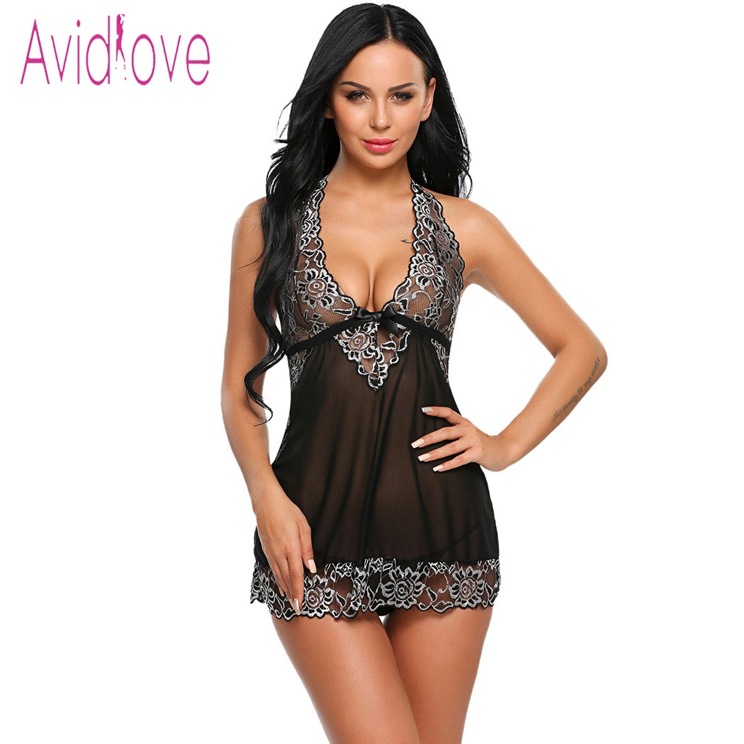Avidlove Halter Lace Lingerie Sexy Hot Erotic Underwear Women Mini Babydoll Dress Nightwear Langeri Negligee Porn Sex Costume black button keyhole design grid halter sleeveless mini dress