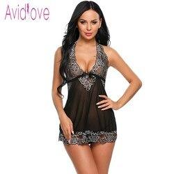 Avidlove Halter Lace Lingerie Sexy Hot Erotic Underwear Women Mini Babydoll Dress Nightwear Langeri Negligee Porn Sex Costume