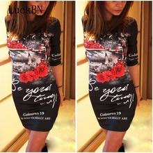 купить New Summer autumn Dress Fashion Bodycon Sheath Hip Pencil Dress Plus Size 5XL Print Slim Mini Dresses Black White Women Vestidos по цене 508.58 рублей