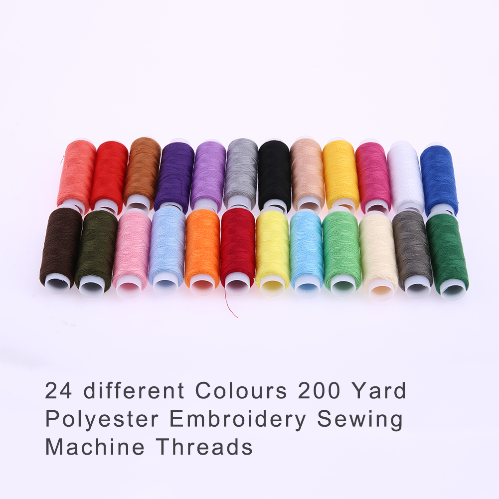 24 Pcs Multi Colors Floss Kit Diy Sewing Tools 200 Yard Polyester Thread House Wiring Symbols Embroidery Machine Threads Line For Handmade In From Home