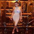 Comercio al por mayor 2017 Nueva Moda casual mujer del partido de Coctel del Vestido de Abalorios de Color Beige Elástico que hace punto del vendaje (L1638)