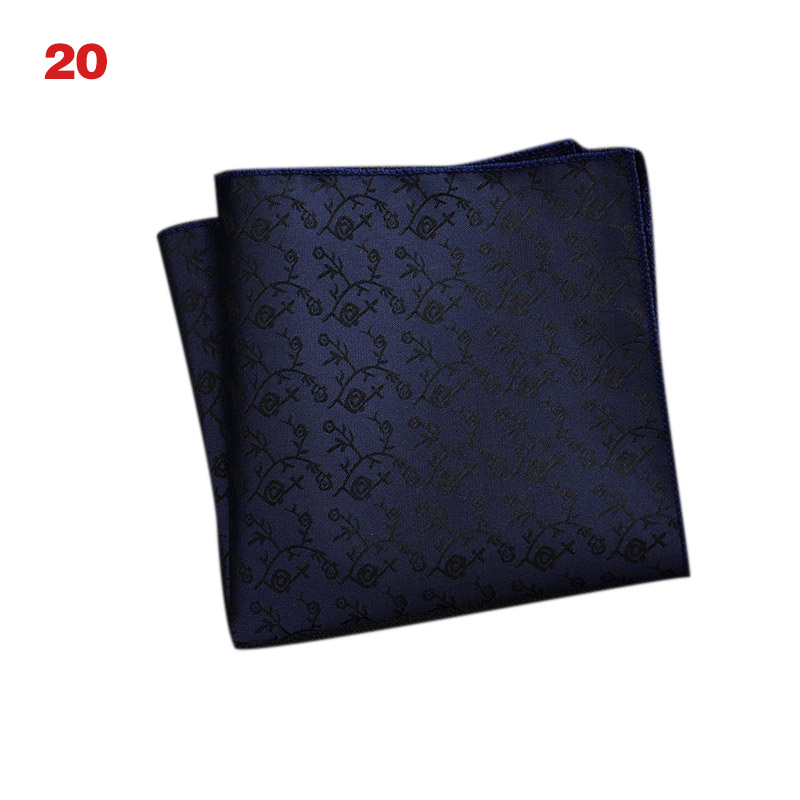 HOT Men's Handkerchief  Striped Floral Printed Hankies Polyester Business Pocket Square Chest Hanky 19ING
