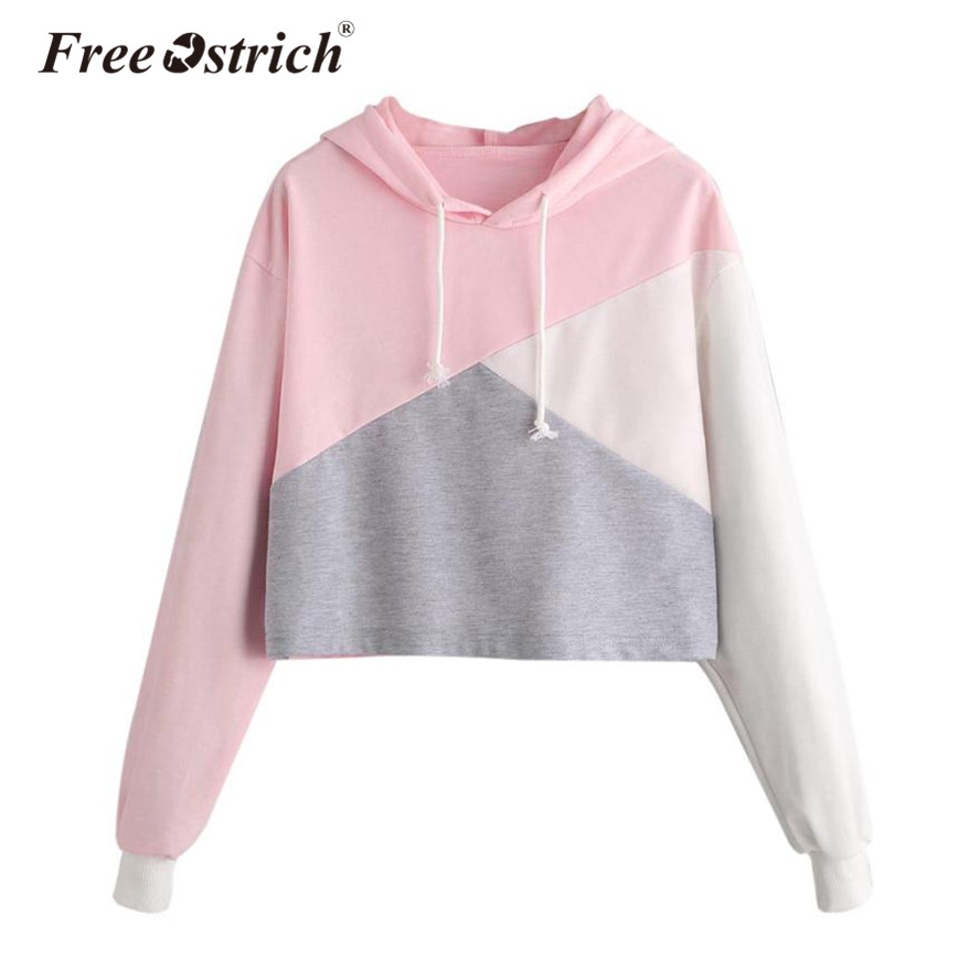 FREE OSTRICH Luxury Women Jumper  Color Block Patchwork Long Sleeve Hooded Sweatshirt Pullover Causal Tops Moletom Feminino