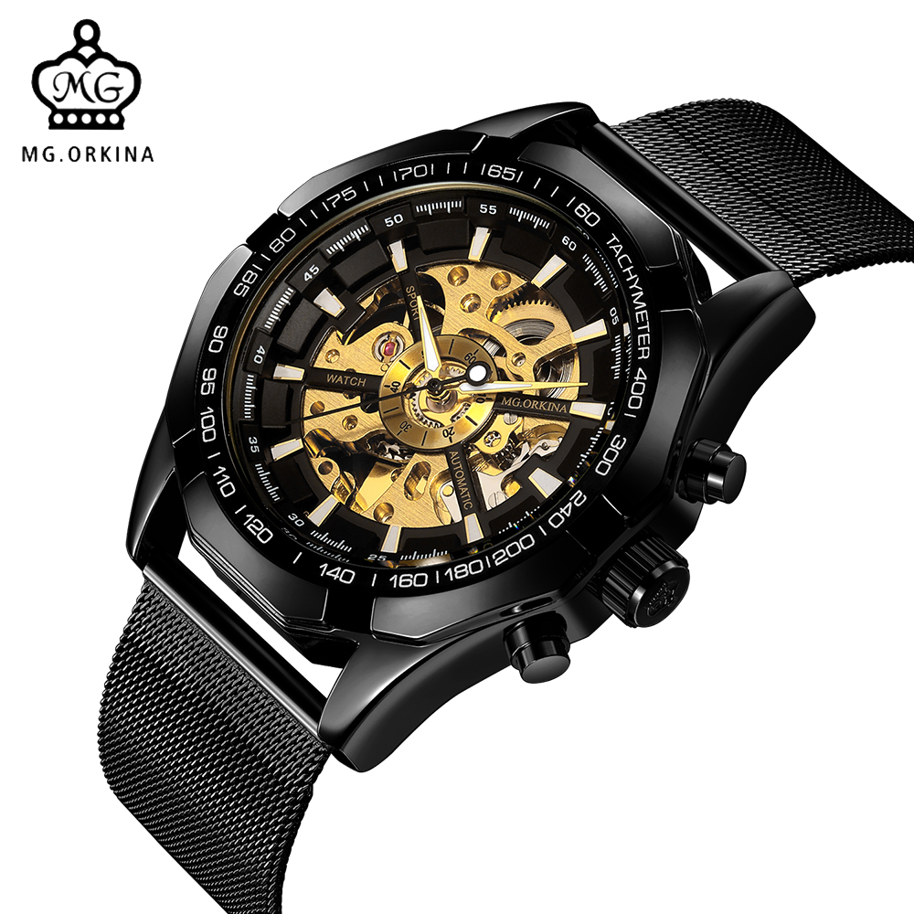 ORKINA Male Sport Wrist Watch Automatic Mechanical Clock Men Mesh Stainless Steel Band Wristwatch Skeleton Relogio Masculino orkina clock men leather skeleton watch classic retro golden case relogio male masculino mechanical automatic watch