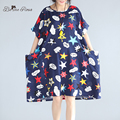 BelineRosa 2017 Summer Dresses Street Fashion Cotton and Linen Loose Big Sizes Female Dresses Fit 50~90KG TYW0229