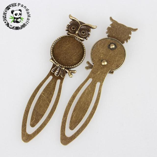 Żelazne zakładki ustawienia Cabochon, z tacą ze stopu, płaskie okrągłe z sową, antyczny brąz, 88x23x4mm; taca: 20mm
