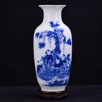 Jingdezhen ceramic vase of blue and white porcelain landscape of modern minimalist living room decoration decoration crafts crea