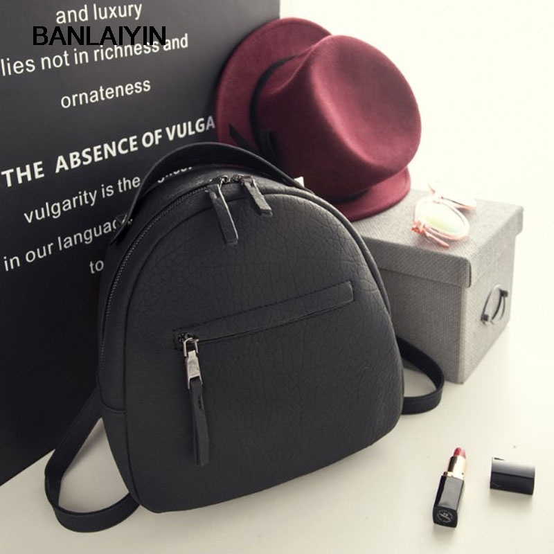 VogueWomen Small Backpack Casual School Bags For Teenagers Girls Mini PU Leather Backpack Women Black Back
